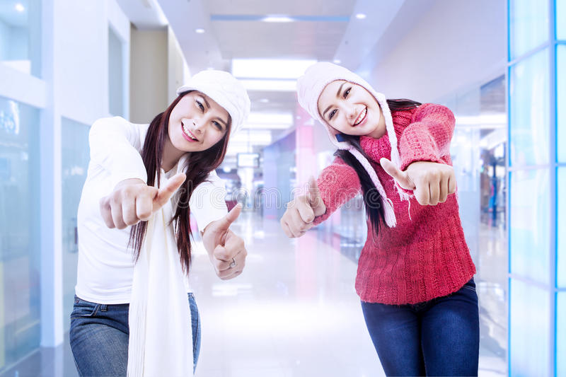 Happy sisters on success in the office. Two happy sisters upon completion of a project in the office stock photos