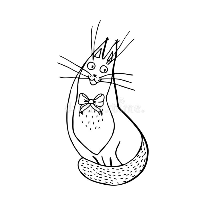 Happy sitting cat with bow-knot, hand drawn character cartoon st royalty free illustration