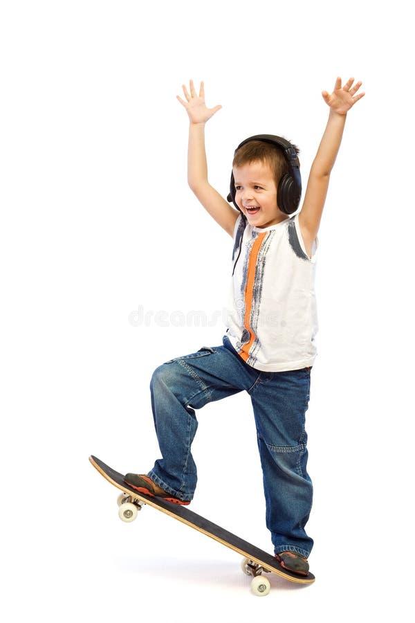 Happy skateboard kid stock photos