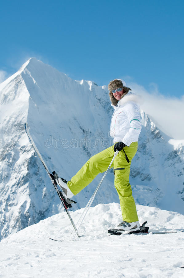 Happy skier royalty free stock images