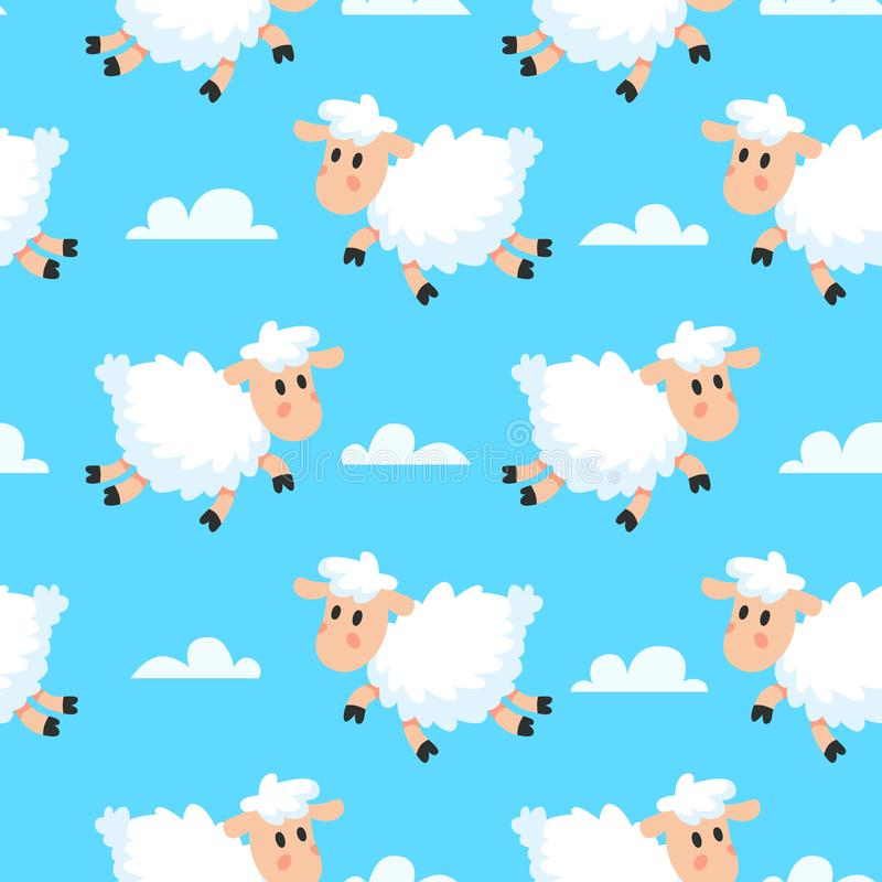 Happy sleeping sheeps fabric background. Dreamy woolly lamb or sheep cartoon seamless illustration royalty free illustration
