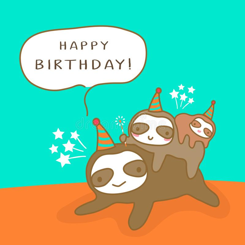 Happy Sloth family cartoon, Humor Birthday card design vector illustration