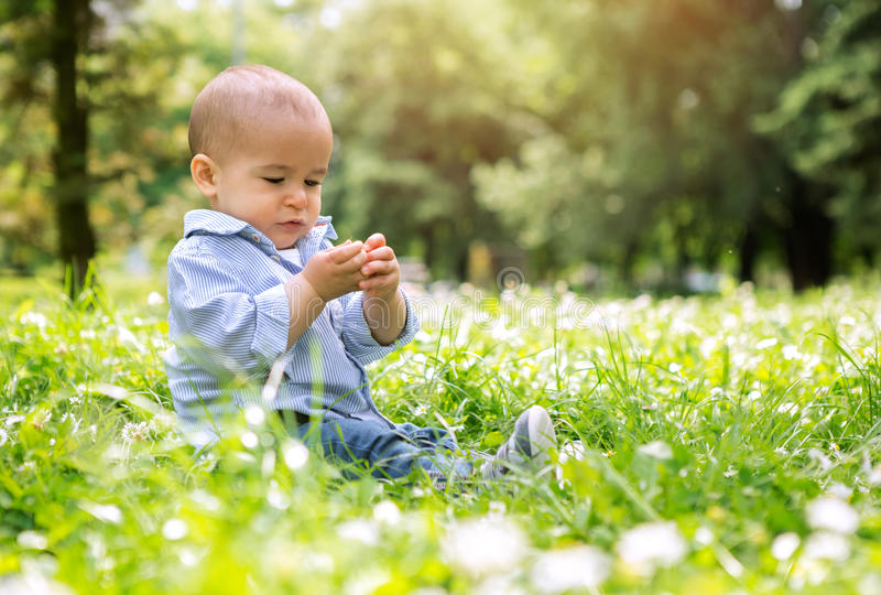 Happy small baby boy sitting on green grass in a park royalty free stock photography
