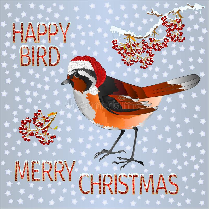 Free Happy Small Bird Black Redstart Santa Merry Christmas And New Yar And Lettering And Snow Vintage Vector Illustration Editable Stock Photo - 163931180