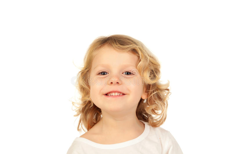 Happy small blond kid royalty free stock images
