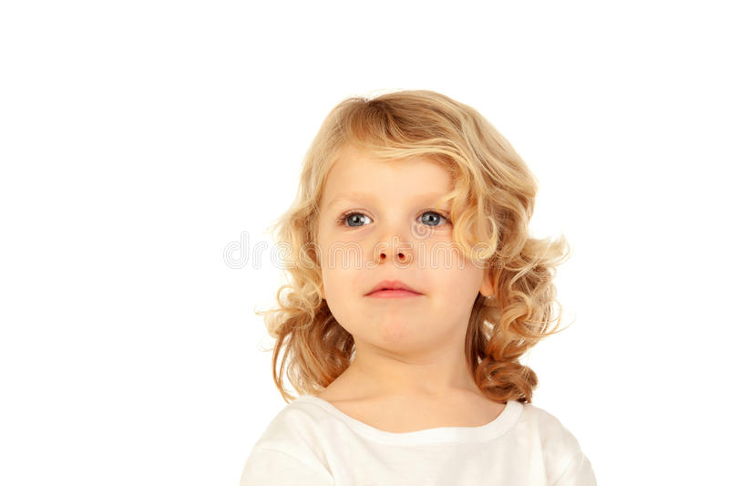 Happy small blond kid stock photos