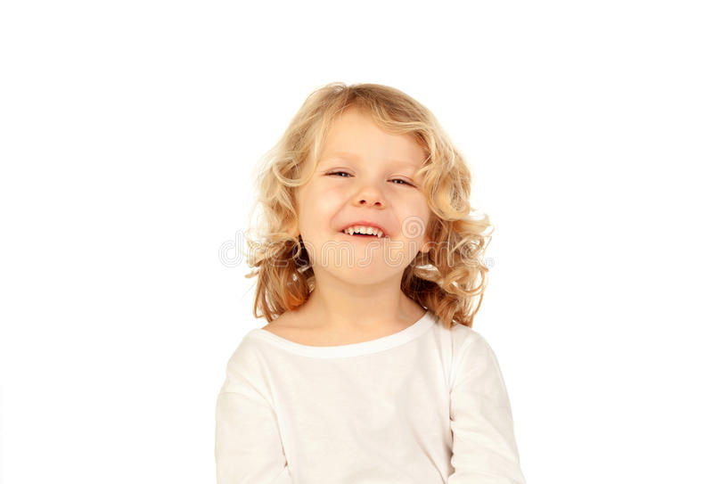 Happy small blond kid stock images