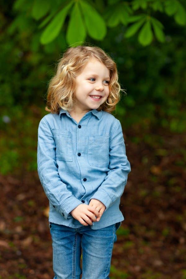 Happy small child enjoying the nature royalty free stock photos