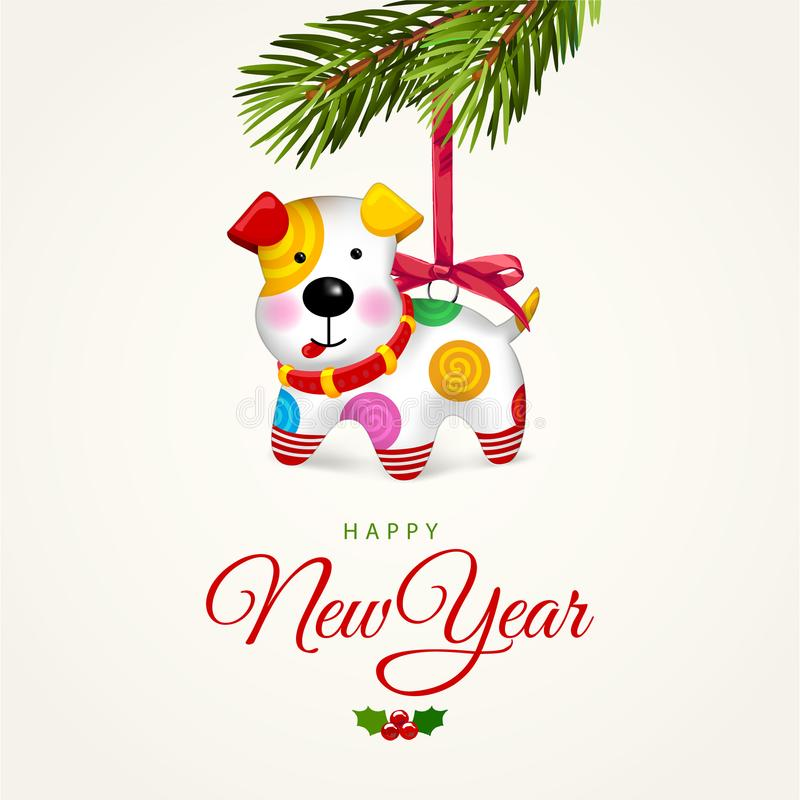 Happy small Dog. Christmas tree decoration. royalty free illustration