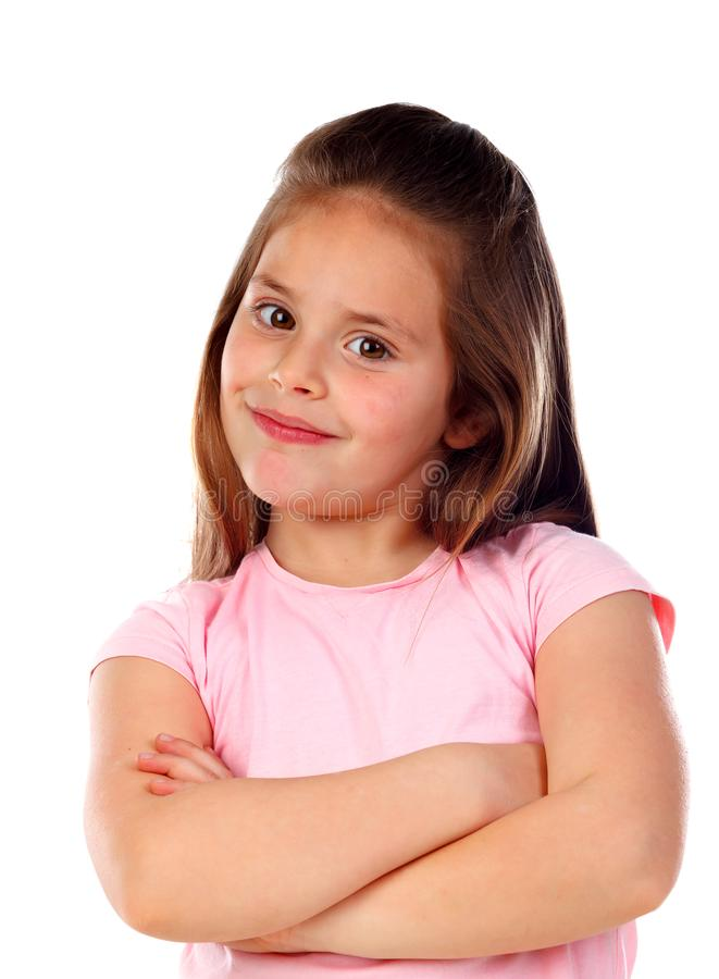 Happy small girl with long straight hair royalty free stock photos