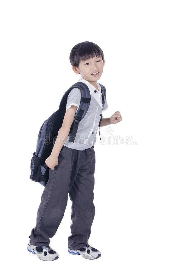 Happy smart boy expect for school. Happy smart boy ready for school over white background stock photography