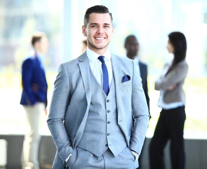 Happy smart business man stock photos