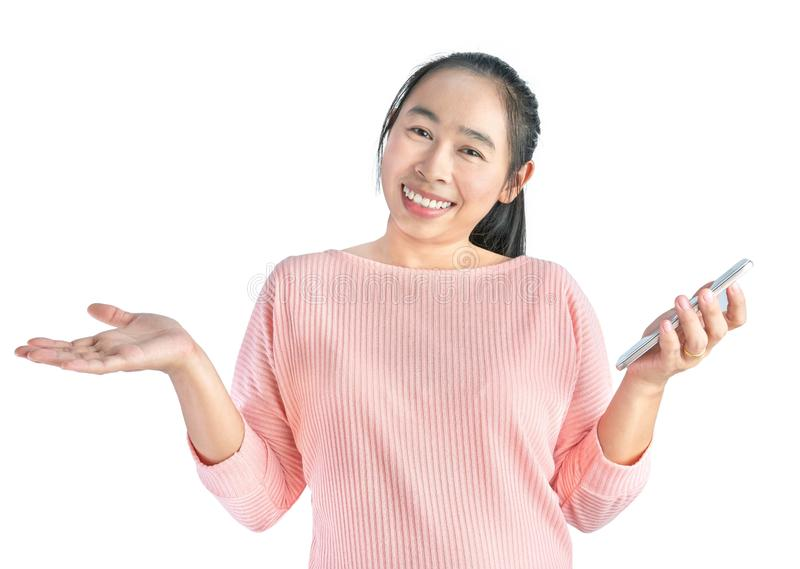 Happy smile face of beautiful young Asian woman use smartphone, Isolated on white background royalty free stock photos
