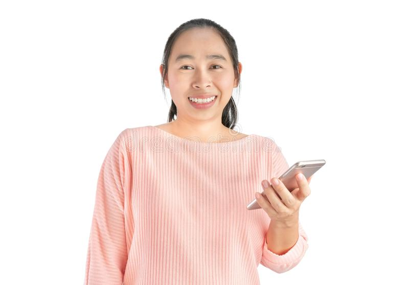 Happy smile face of beautiful young Asian woman use smartphone, Isolated on white background stock images