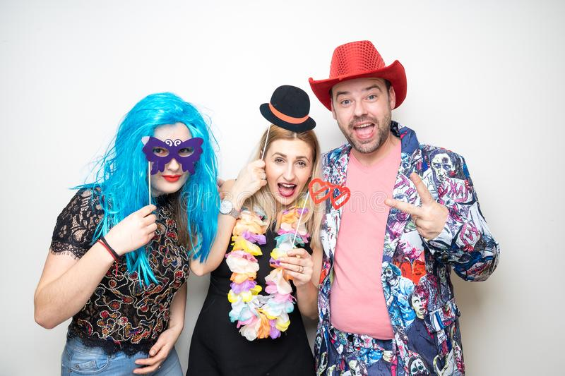 Photo booth props party girls man royalty free stock image