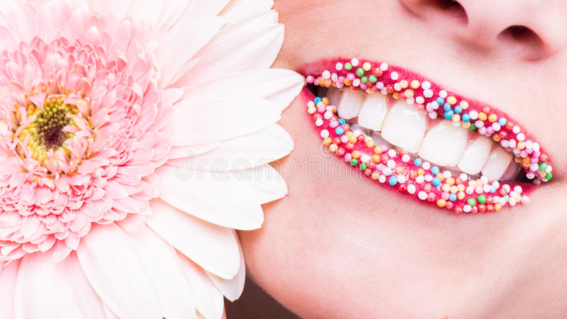Sensual, happy smile, healthy white teeth, laugh royalty free stock photography