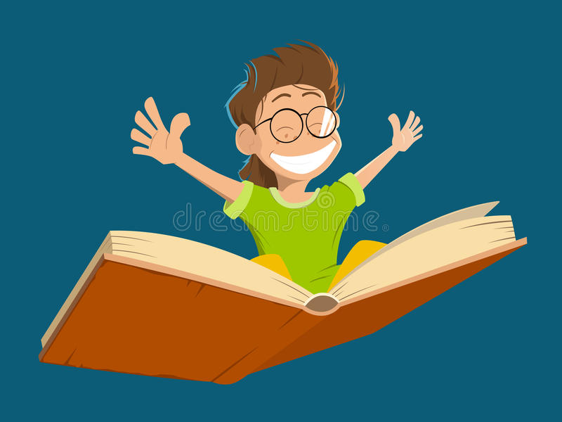 Happy smile kid boy child flying big book glasses royalty free illustration