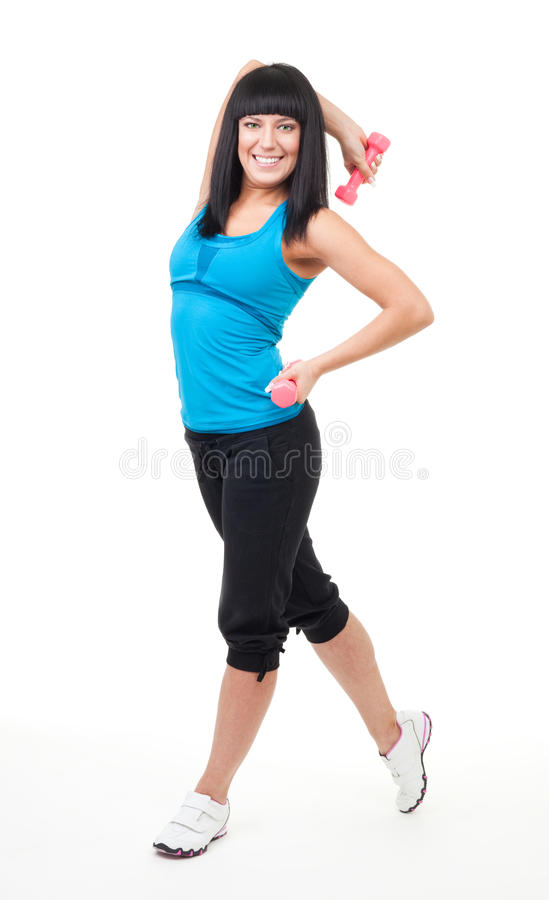 Happy smile woman with dumbbell royalty free stock photos