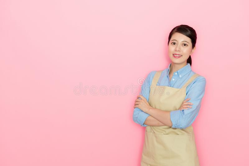 Happy smile woman wearing the apron stock images
