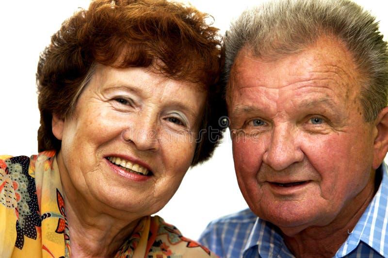 Happy smiled senior couple stock photo