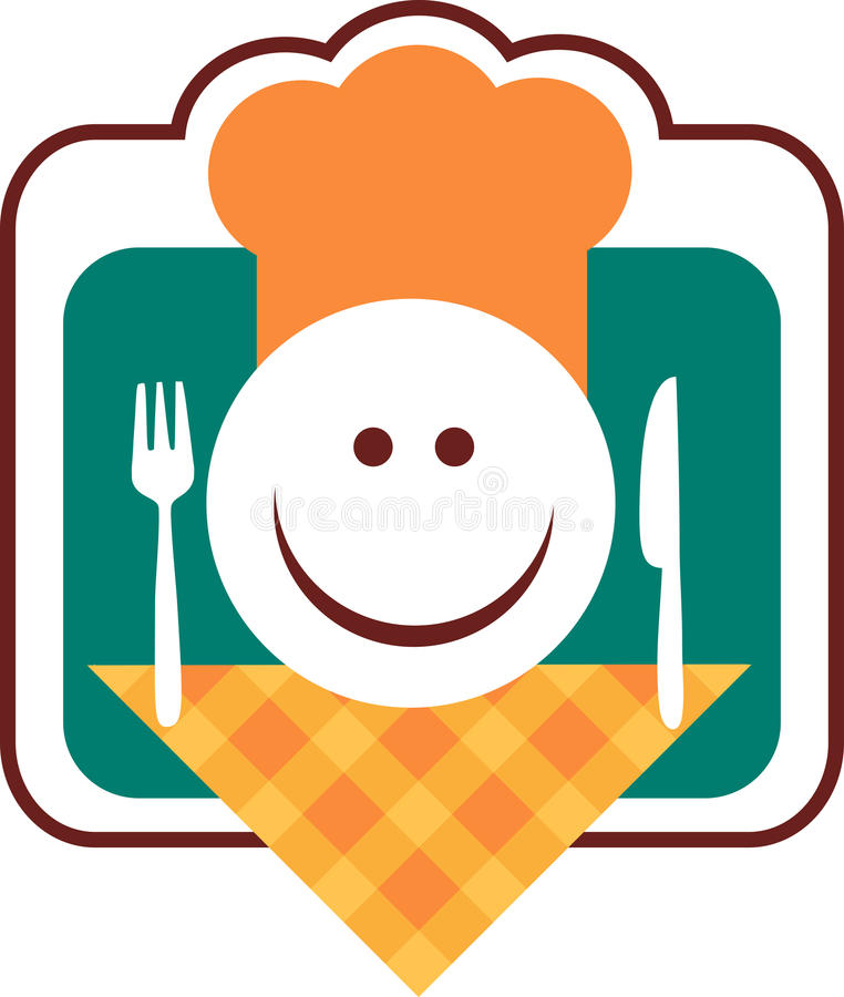Happy smiley chef face with fork and knife stock illustration