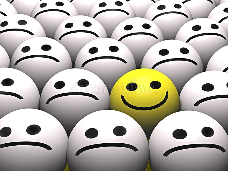 A happy smiley in a crowd of sad smileys royalty free illustration