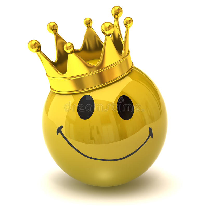 Happy smiley with crown. Isolated on white background