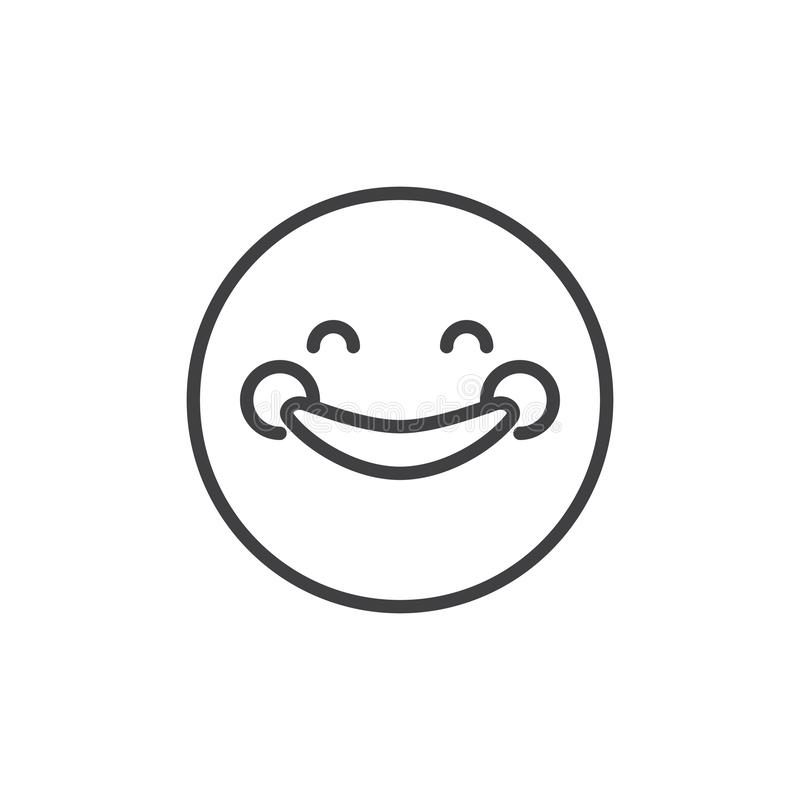 Happy Smiley Emoji outline icon. Linear style sign for mobile concept and web design. Smiling face with smiling eyes emoticon simple line vector icon. Symbol vector illustration