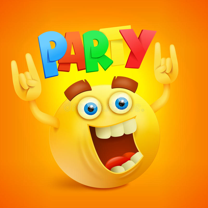 Happy Smiley Emoticon Yellow Face. Party Concept icon. Vector illustration stock illustration
