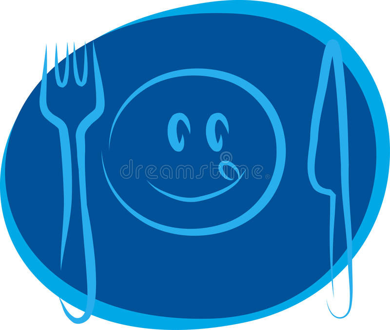 Happy smiley face with fork and knife stock illustration