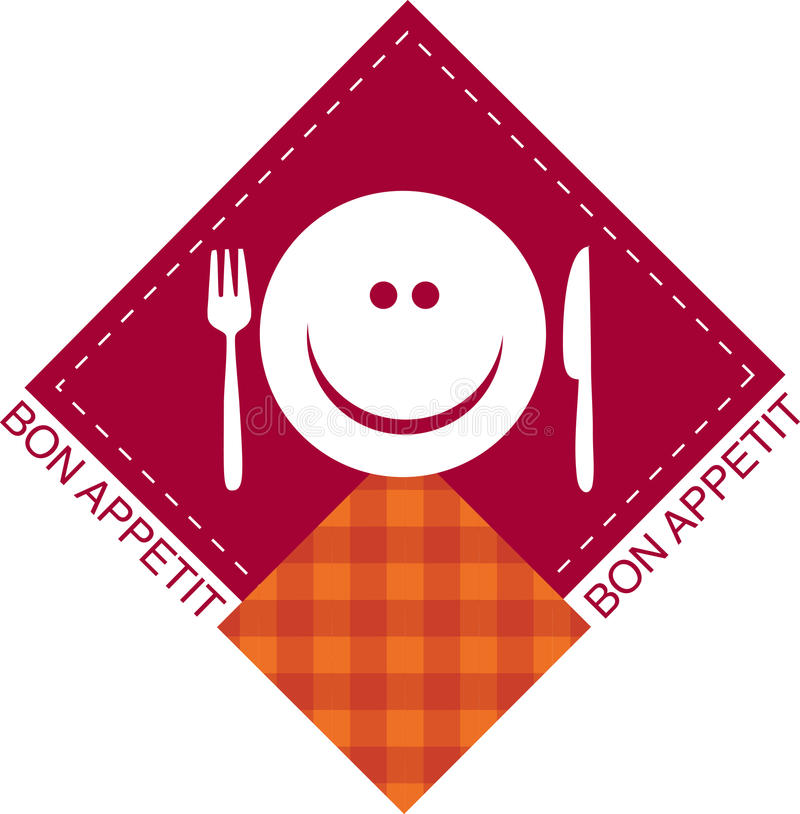 Happy smiley face with fork and knife royalty free illustration