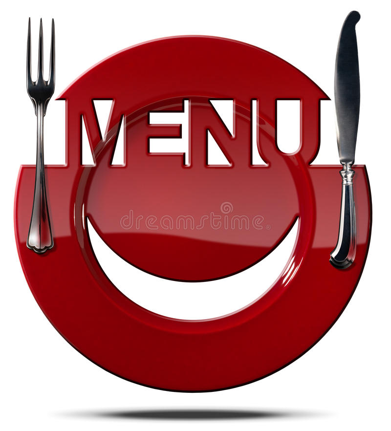 Happy Smiley Face on Red Plate Menu royalty free illustration