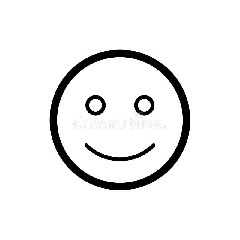 Happy smiley vector icon. Black and white smile illustration. Outline linear emotion icon. Eps 10 stock illustration