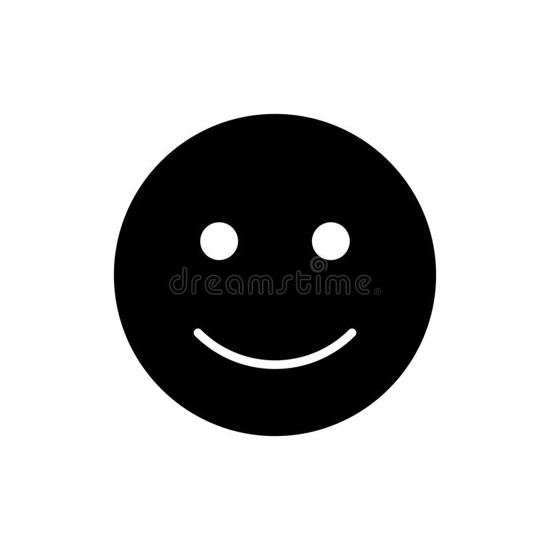 Happy smiley vector icon. Black and white smile illustration. Solid linear emotion icon. Eps 10 vector illustration