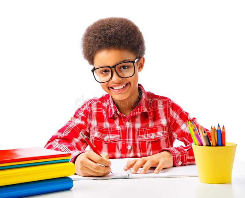 Happy smiling African American teenager stock photography