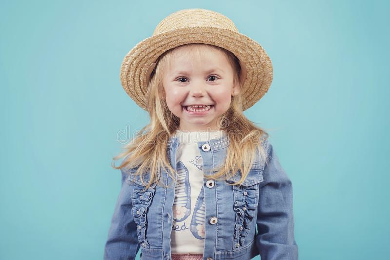Happy and smiling baby with hat stock photo