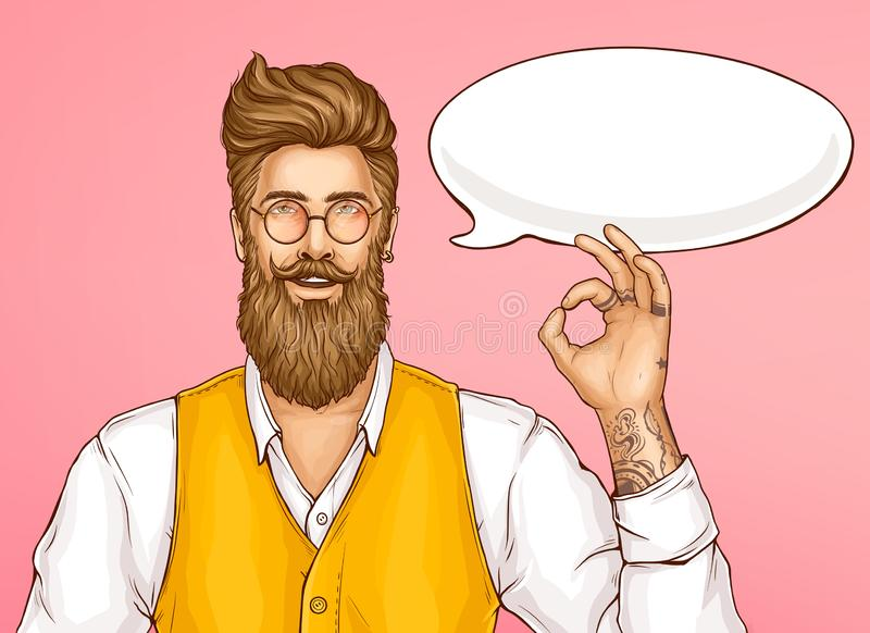 Hipster man showing ok sign cartoon vector vector illustration
