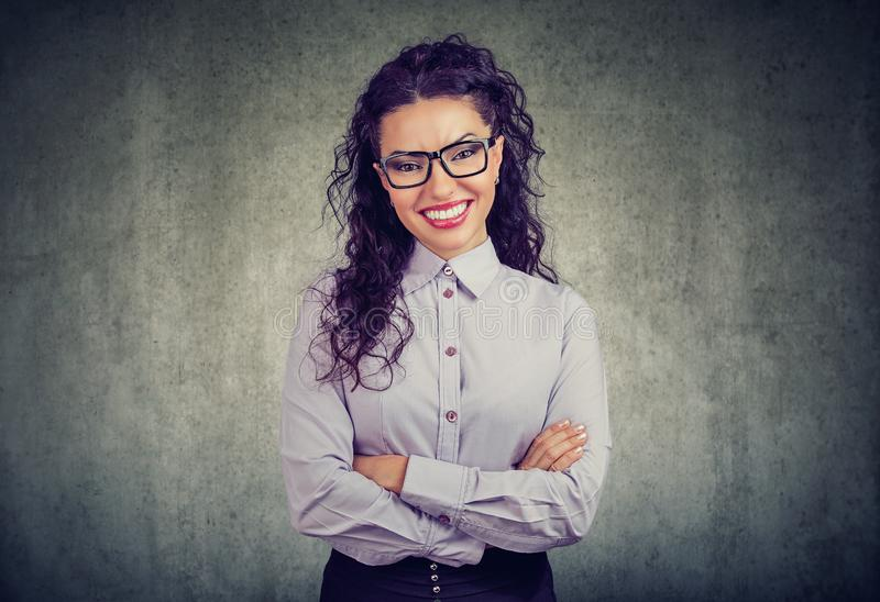Happy smiling beautiful business woman royalty free stock image