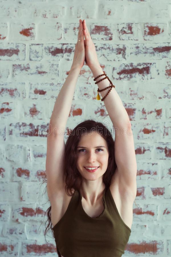 Woman in yoga class stock photography