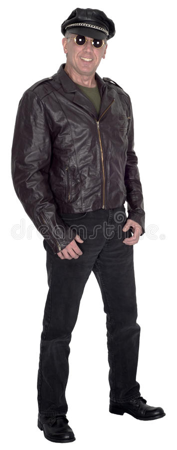 Happy Smiling Biker, Motorcycle Rider Isolated royalty free stock image