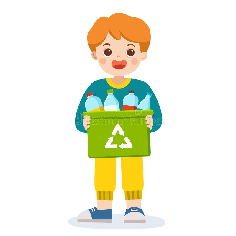 Happy smiling boy carrying a container bin of bottles suitable for recycling. Save Earth. Waste recycling royalty free illustration