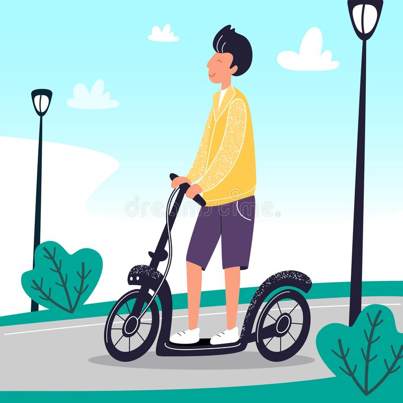 Happy smiling boy on the electric scooter. Young men use eco city transport for traveling. Summer street with walking stock illustration