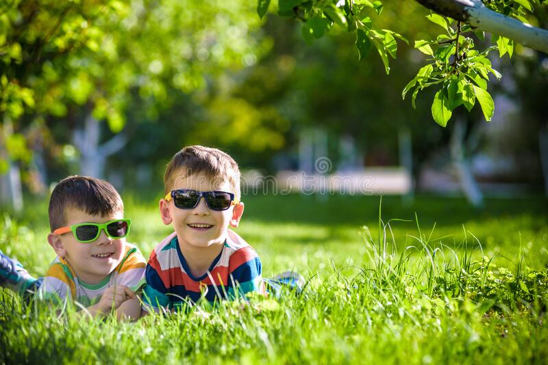 Happy smiling boy sibling brother relaxing on the grass. Close up view with copy space stock image