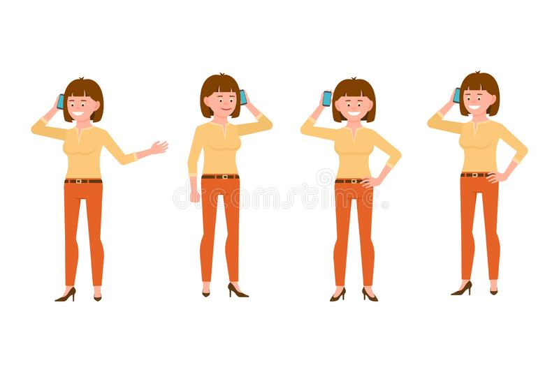 Happy, smiling, brown hair young woman in orange pants vector illustration. Calling, talking on phone, standing girl character set royalty free illustration