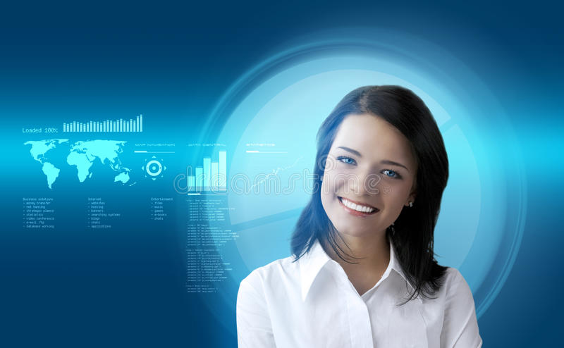 Happy smiling brunette futuristic interface stock images