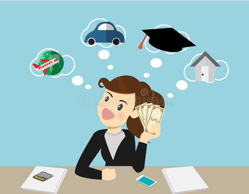 Happy smiling business woman holding dollars and thinking.Vector cartoon business stock illustration
