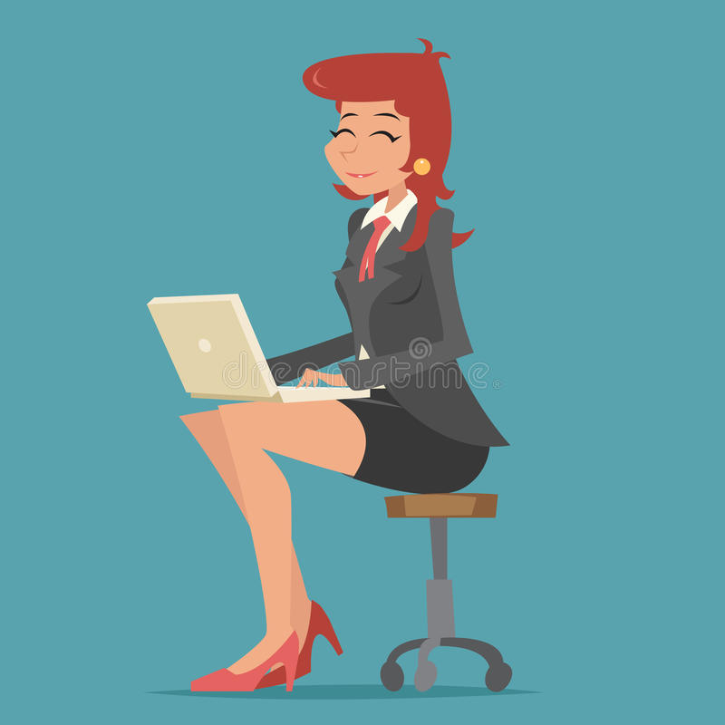 Happy Smiling Business Woman Lady Character stock illustration