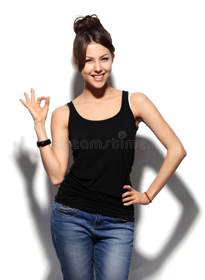 Happy smiling business woman with ok hand sign royalty free stock photography