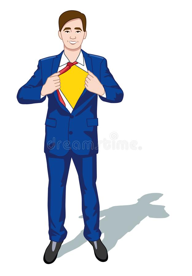 Happy Smiling Businessman Turns in Superhero Suit under Shirt Icon on Stylish Background Retro Cartoon Design Vector. Illustration. Colorful cartoon characters stock illustration