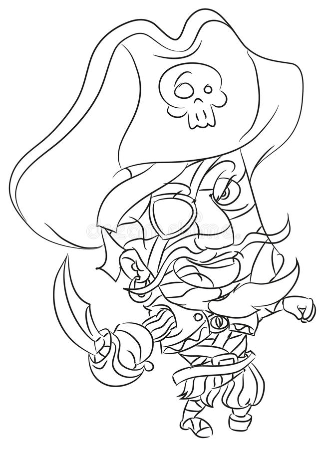 Happy smiling cartoon pirate mummy coloring page. Happy and funny traditional illustration for children - scene for different usage vector illustration